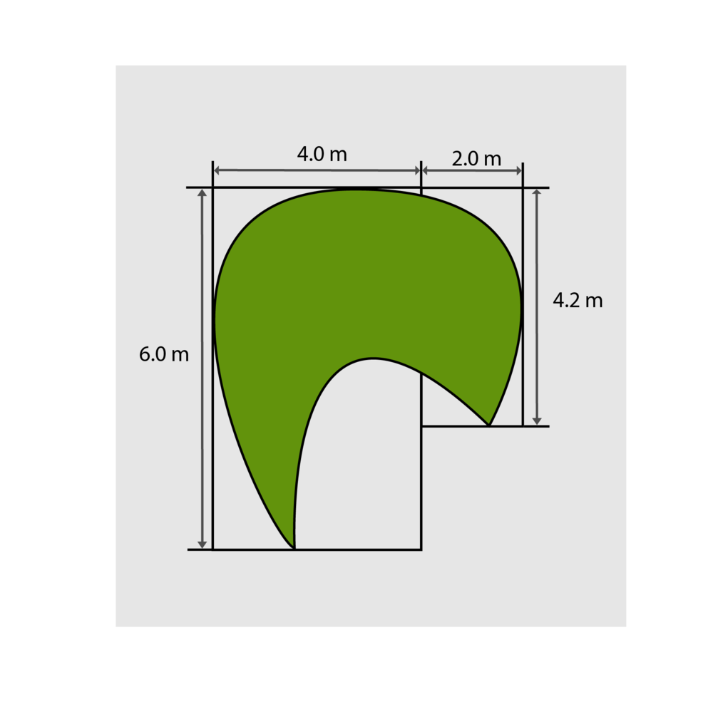 4.0m x 6.0m = 24m² </br> 2.0m x 4.2m = 8.4m² </br> Total = 32.4m² to purchase