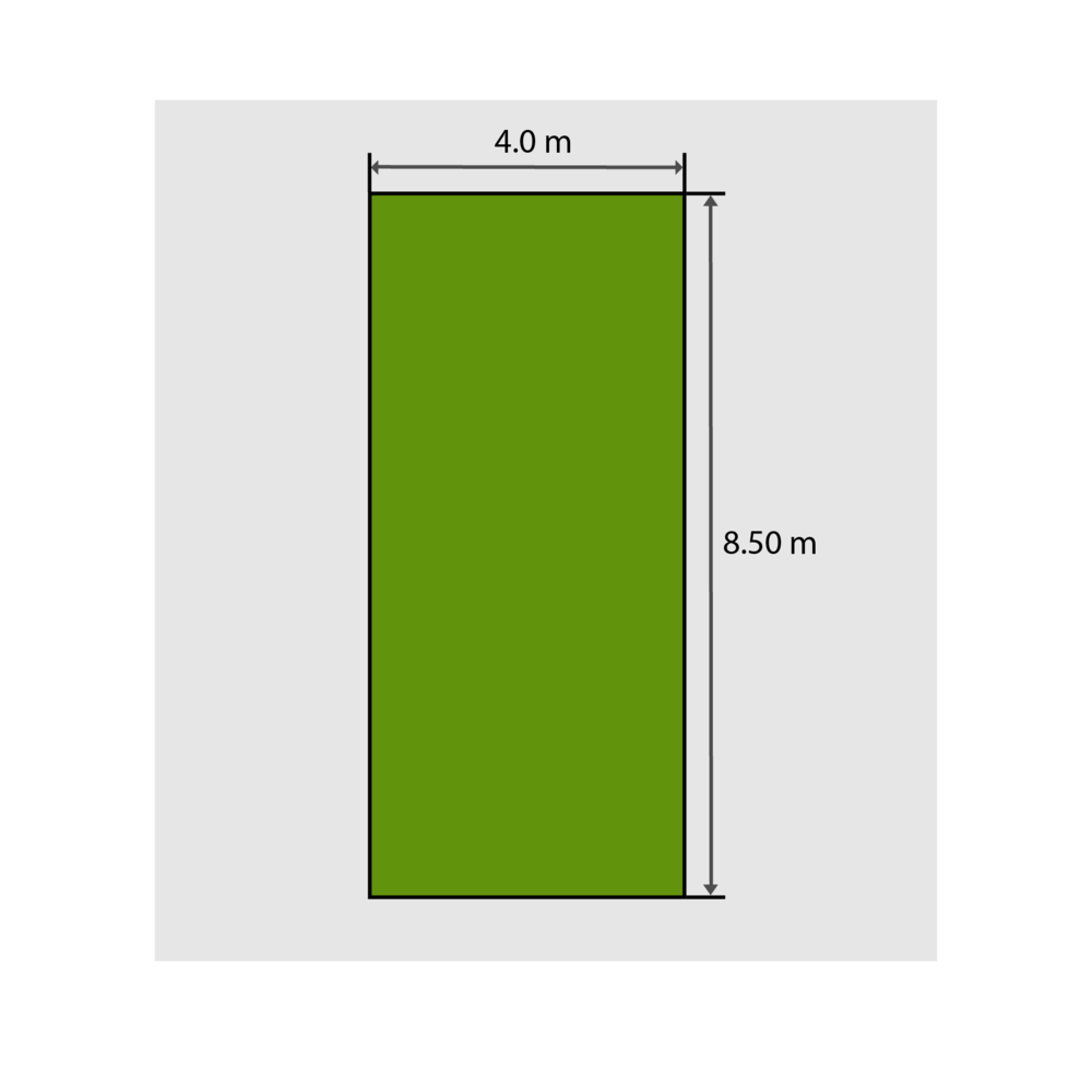 4.0m x 8.5m = 34m² to purchase