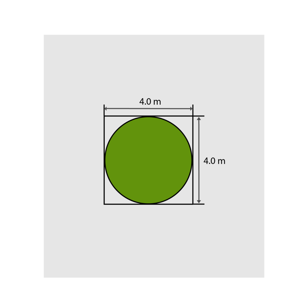 4.0m x 4.0m = 16m² to purchase