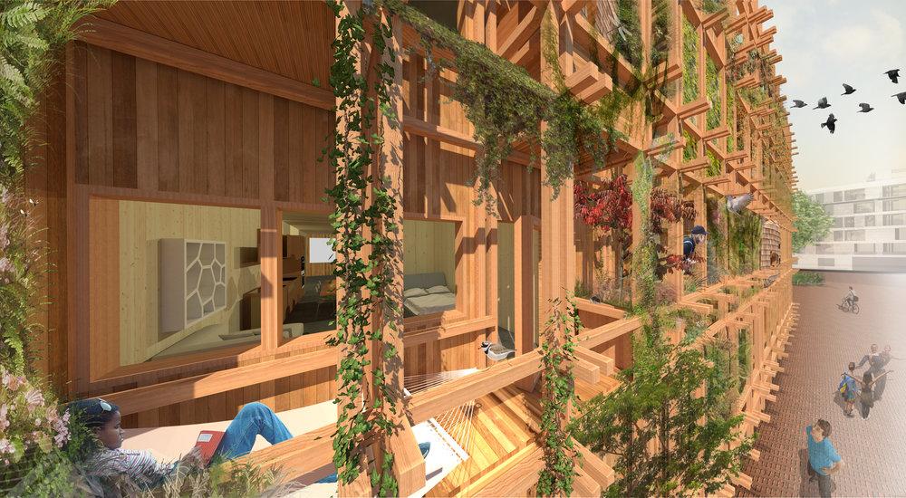 De groene gevel en houten mikado structuur (c) Natrufied Architecture