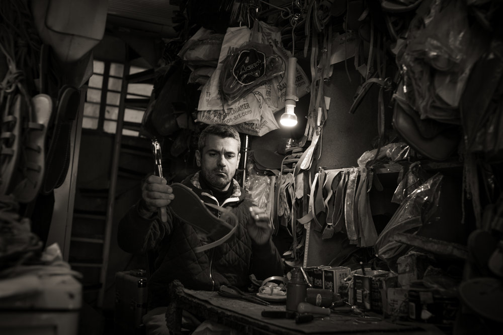 Sandal maker, Athens, Greece.  Sony A9, Leica M 35mm f1.4 Summilux.