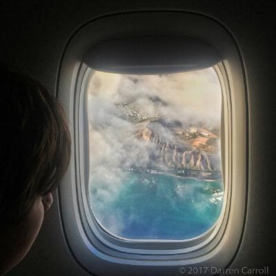 Diamond Head from American Airlines flight 8, Honolulu-Dallas/Fort Worth, July 2017