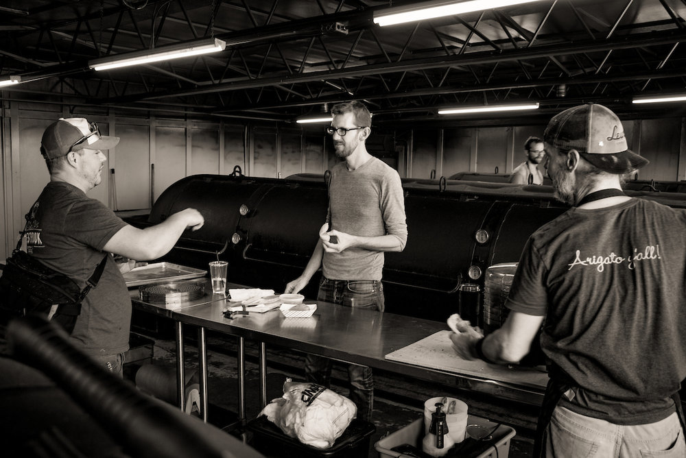 Lewis leads a menu-tasting session in the smokehouse.  Leica M240, 35mm f1.4 Summilux