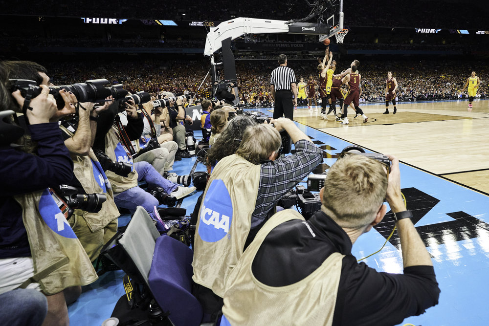 Still photographers stack two rows deep at the Final Four.   Sony A7rIII, Sony 12-24mm f4 G