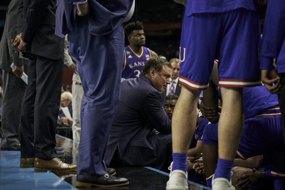Kansas coach Bill Self attempts to rally the troops as the game starts to slip away in the second half.   Sony A9, Sony 70-200mm f2.8 GM