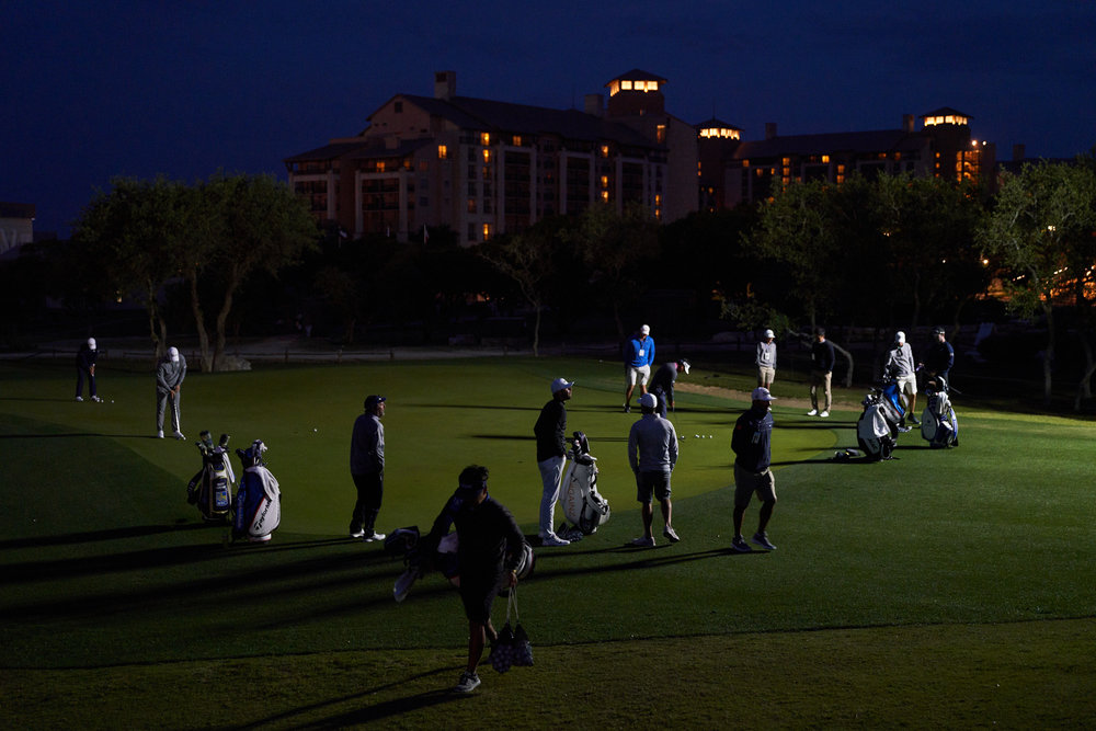 Practice green with the JW Marriott San Antonio Hill Country in the background, pre-dawn.  Sony A7rIII, Sony 24-70mm f2.8 GM