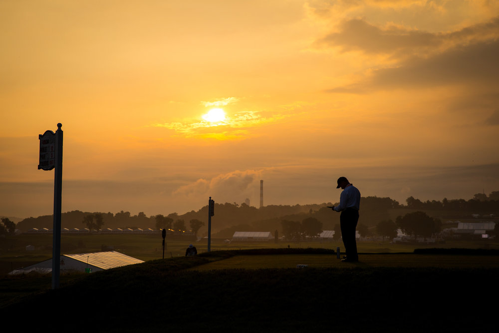 USGA Executive Director Mike Davis sets the tee markers at the 12th hole,2016 U.S. Open Championship .  Oakmont CC, Pittsburgh, Pennsylvania . Canon 1DX, Canon EF 24-70mm f2.8L