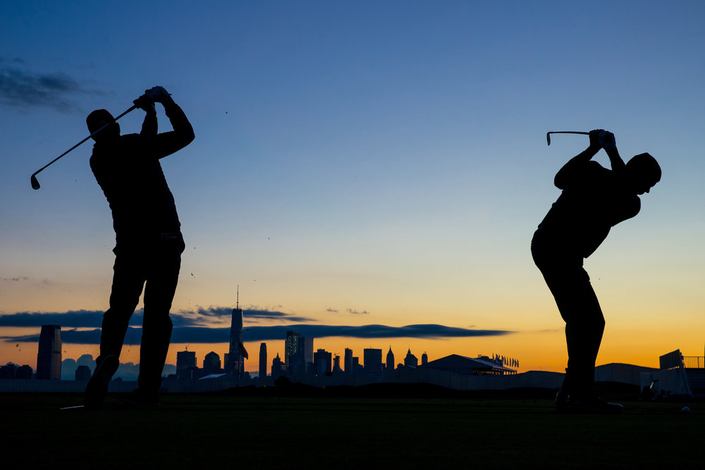 Phil Mickelson and Matt Kuchar, 2017 Presidents Cup matches. .  Liberty National GC, Jersey City, New Jersey . Canon 1DX, Canon EF 24-70mm f2.8L
