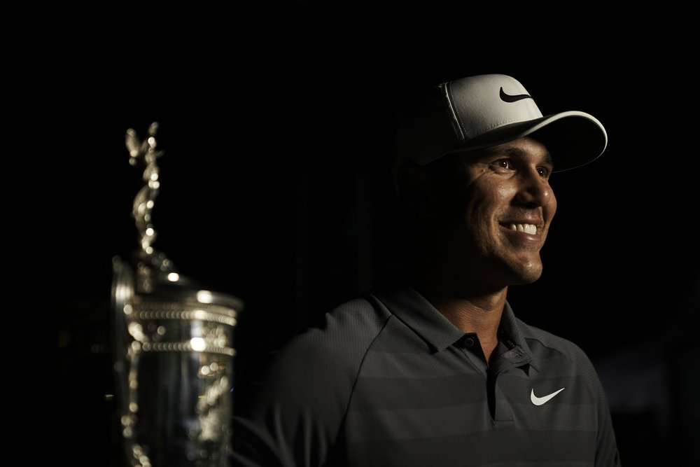 Champion Brooks Koepka during a television interview following his win.   Sony A9, Sony 24-70mm f2.8 GM. ©USGA/Darren Carroll