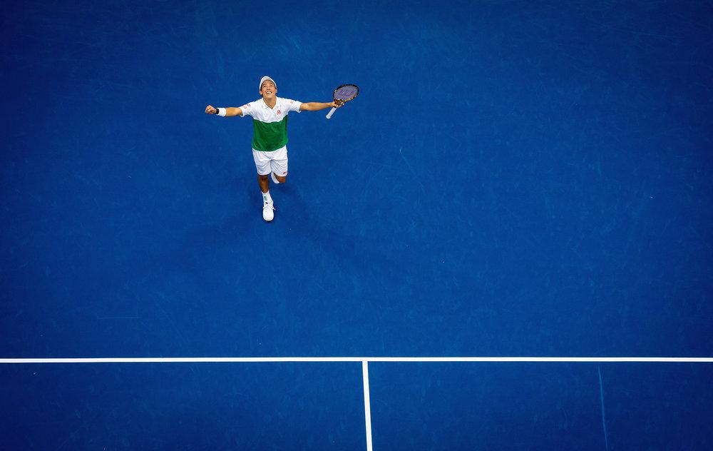 Kei Nishikori, Arthur Ashe Stadium, Men's Singles Quarterfinal  Nikon D5, AF-S Nikkor 300mm f4D IF-ED