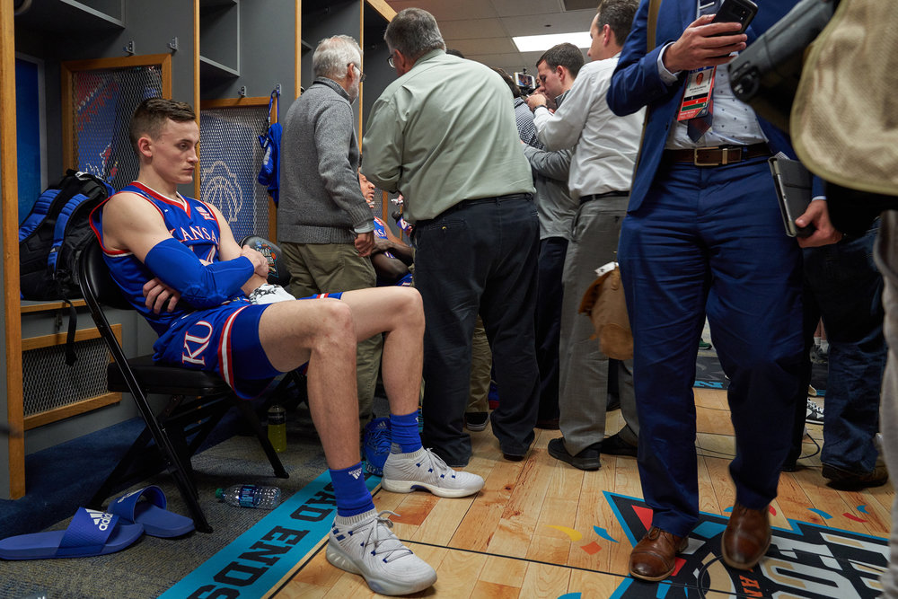 Mitch Lightfoot of the Kansas Jayhawks following Kansas' loss in the 2018 NCAA Men's Basketball semifinals, for ESPN: The Magazine.  Sony A7rIII, Sony 24-70mm f2.8 GM