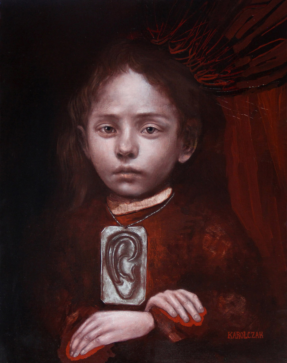 "Unspoken   Oil, encausti & antique metal pigment on panel, 18"" x 14"", 2015   Private Collection"