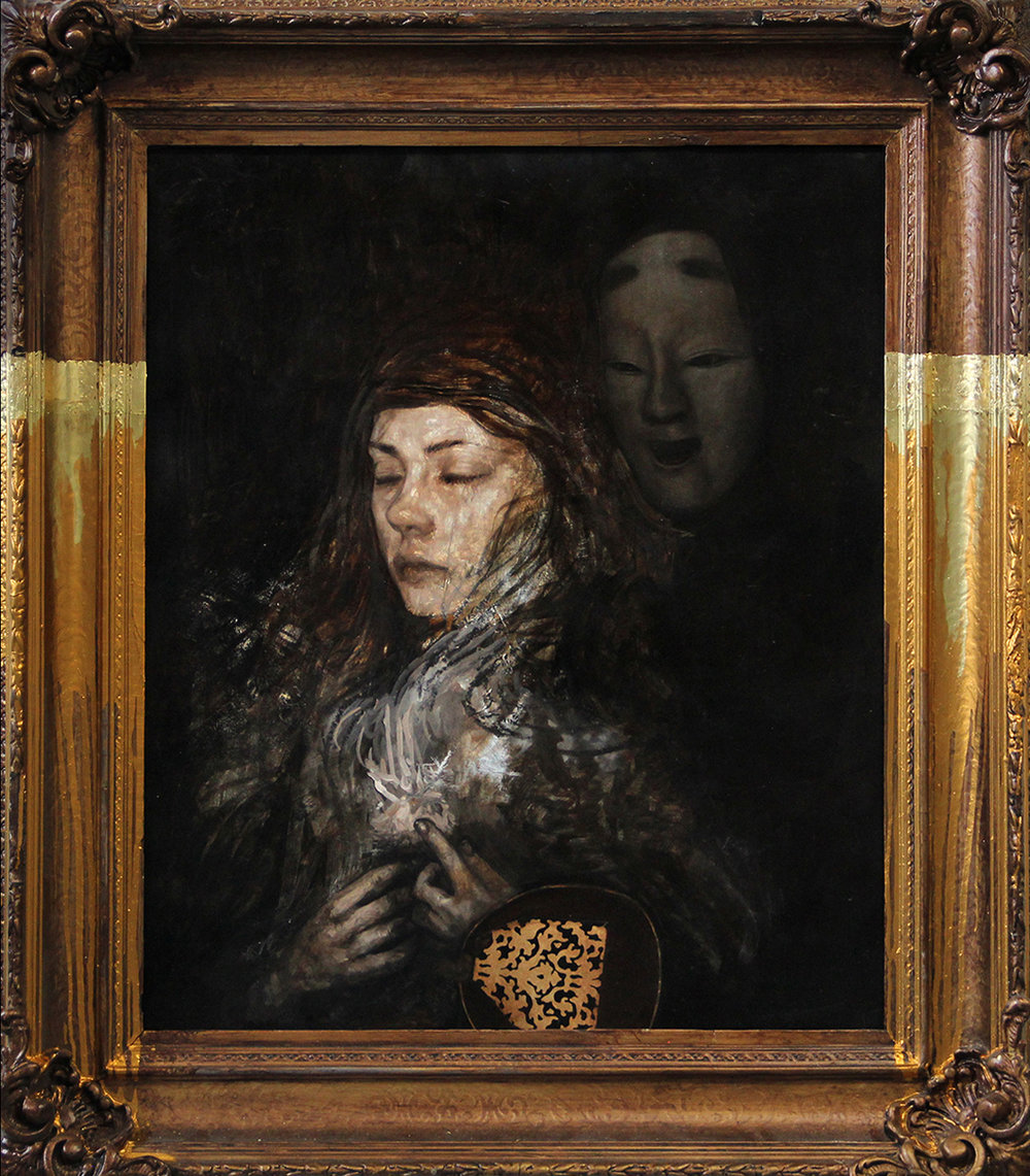 "Rumination   Oil on panel, antique frame, 34"" x 39"", 2017"