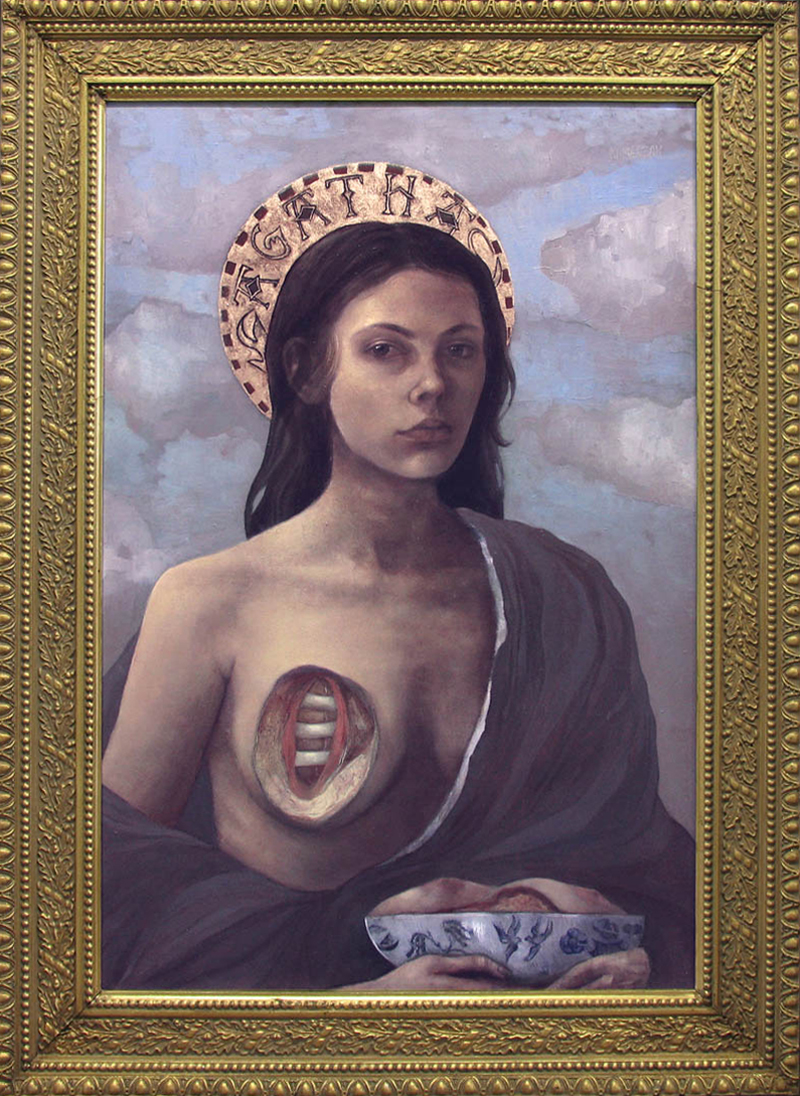 Saint Agatha   Oil & gold pigment on panel in antique frame, 2011  available   *higher resolution image coming soon*