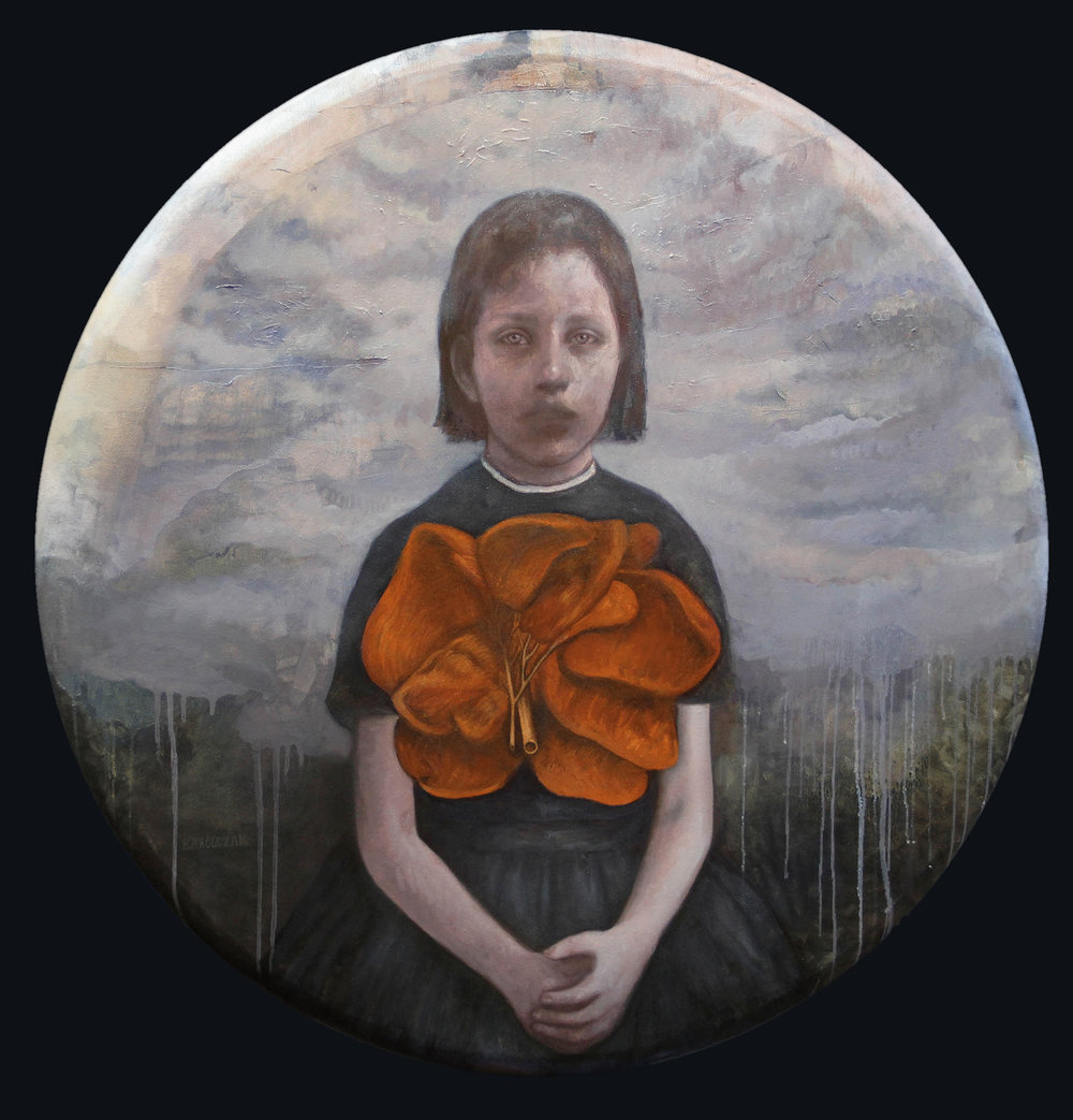 "Petal   Oil on round canvas, 36"" in diameter, 2014"