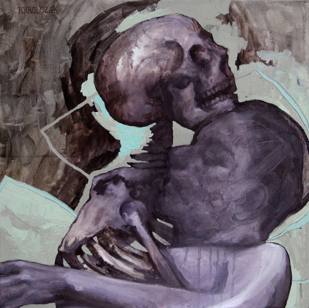 "The Intimacy of Bones   Oil on canvas, 20"" x 20"", 2014"