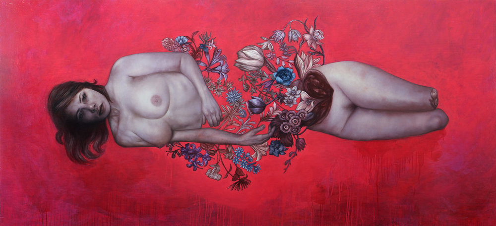 "Seeking Arrangement  Oil and enamel on panel, 77.5"" x 36""  available"