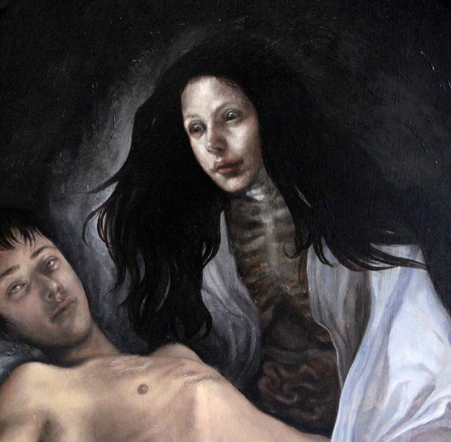 """Spooky season is here! Another detail of """"The Nightmare"""". Oil on panel.  I made this painting for a witchcraft themed show. I based my imagery off of mythology about sleep paralysis & witch-erotica folklore. 🖤🔪 ............................................... ............................................... #Halloween #witches #witch #oilpainting #darkart #painting #artoninstagram #creepy #artistsoninstagram #artist #femaleartist #feministart"""