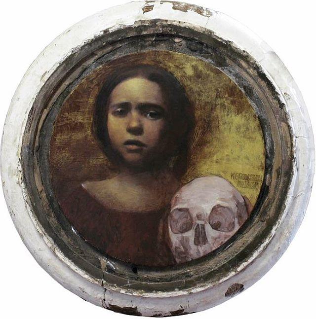 """Memento Mori I"" oil, vintage pigments on antique wood column base. From several years ago... 🖤 ............................................... ............................................... #mementomori #oilpainting #artoninstagram #skull #darkart #girl #artistsoninstagram #painting #mplsart #mnartist"