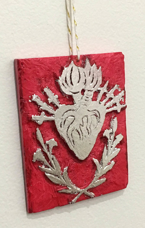 Red Sacred Heart with Silver Leaf
