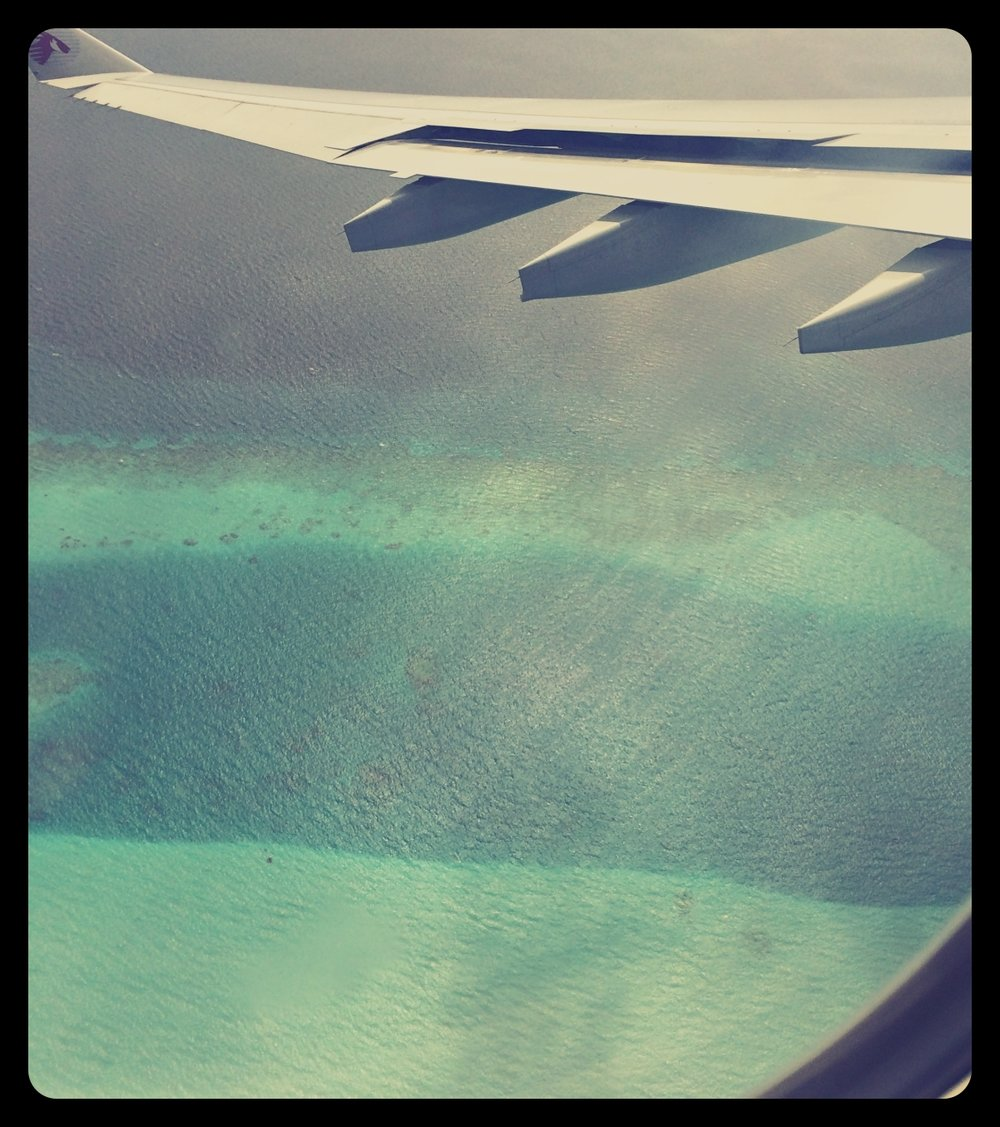 View from the plane on Indian Ocean