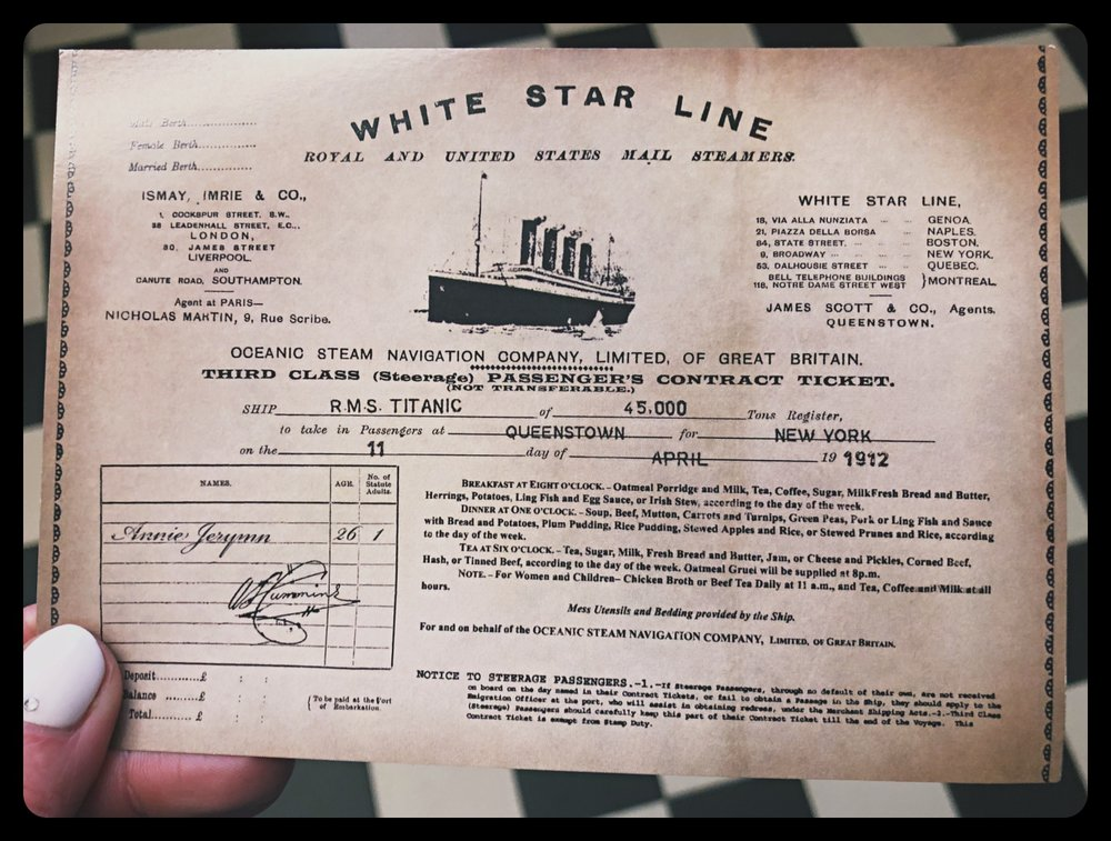 Ticket from the Titanic Museum