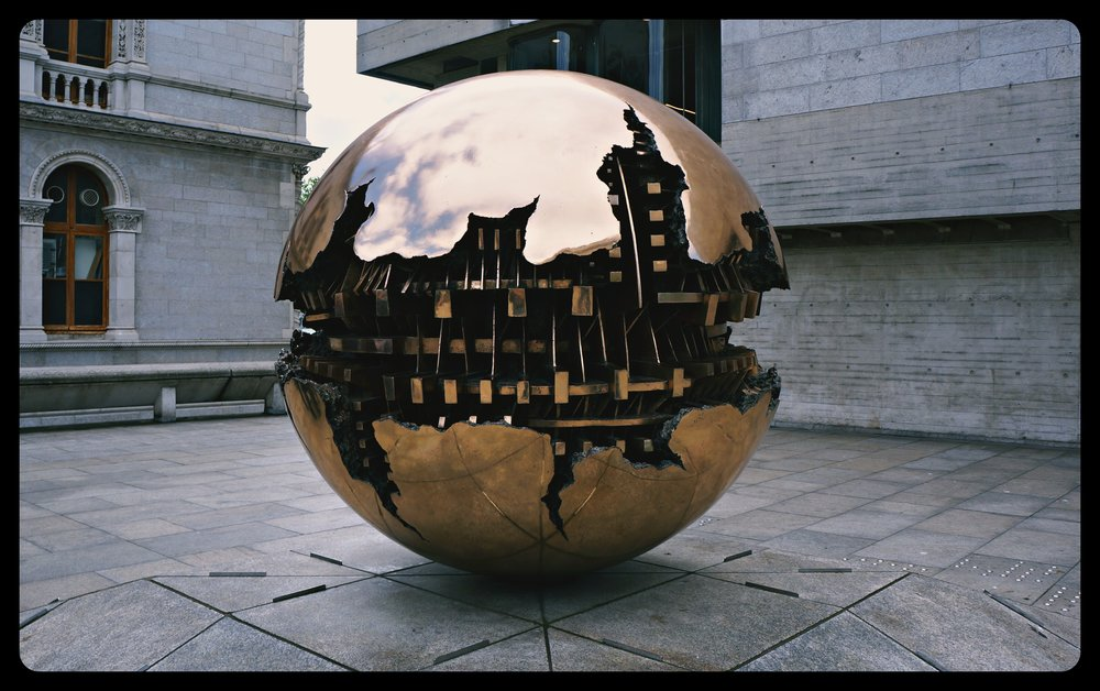Sphere Within Sphere sculpture - Trinity College