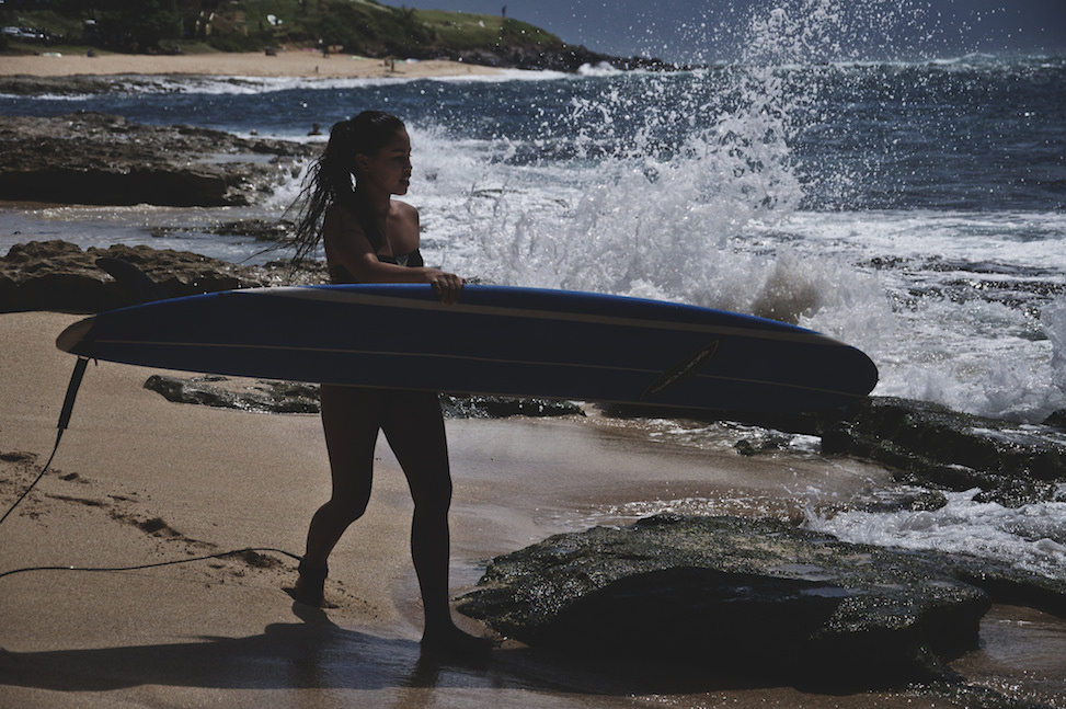 Surfer girl, ho'okipa beach park, paia, hawaii