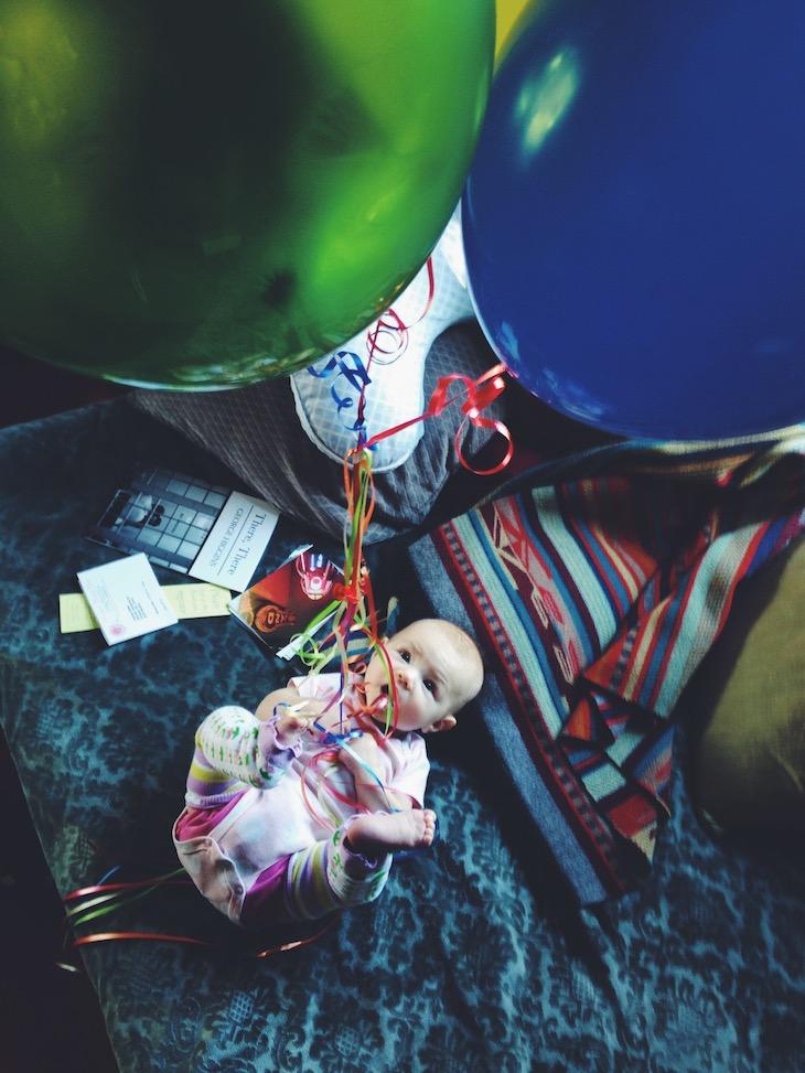 Aniela with balloons, portland, oregon
