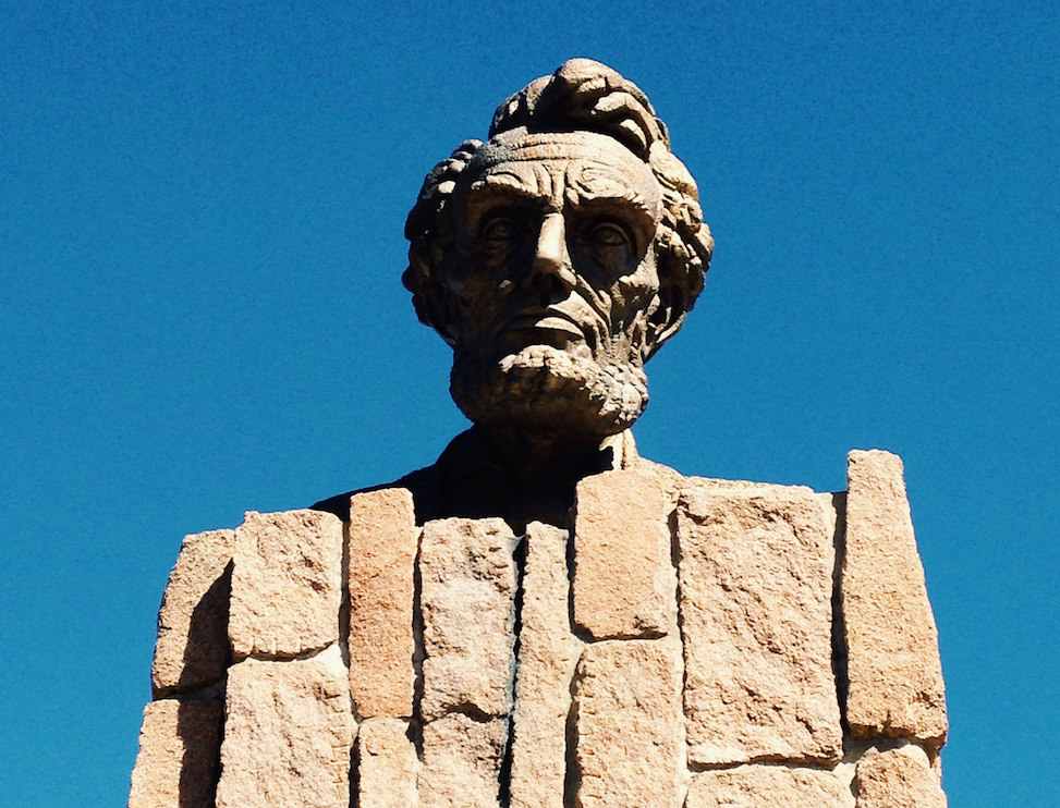 Giant head of Abraham Lincoln, Interstate 80, Wyoming