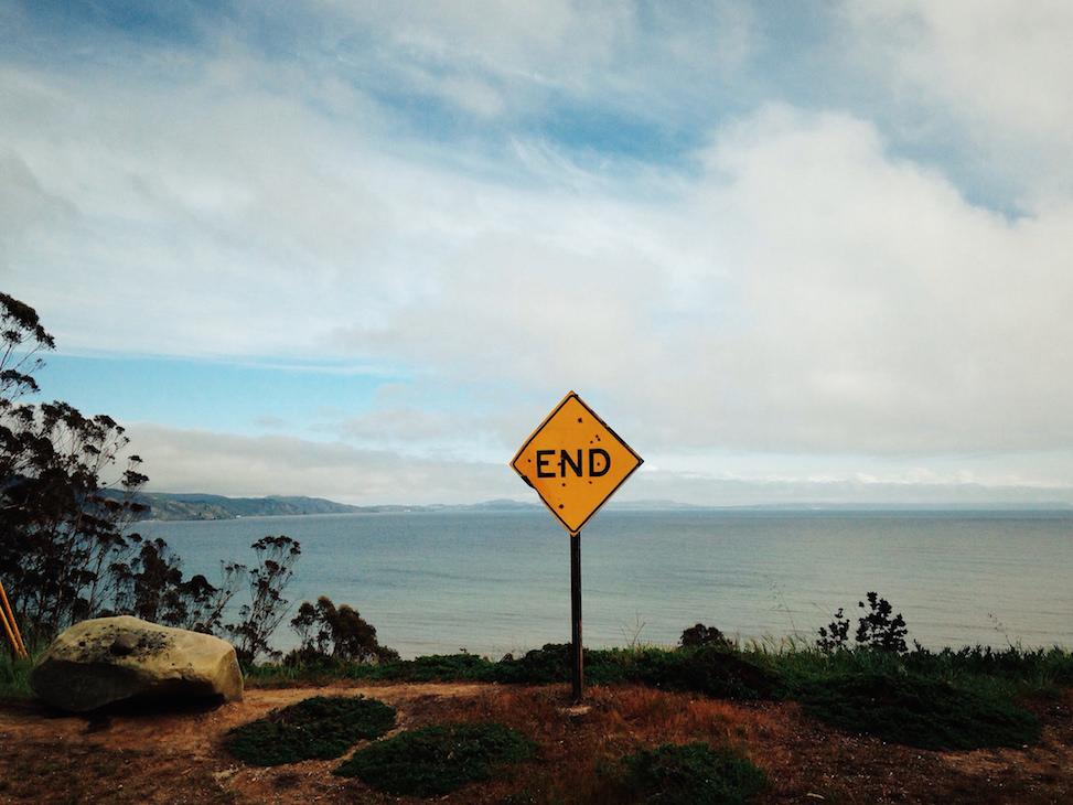 End sign, Bolinas, California