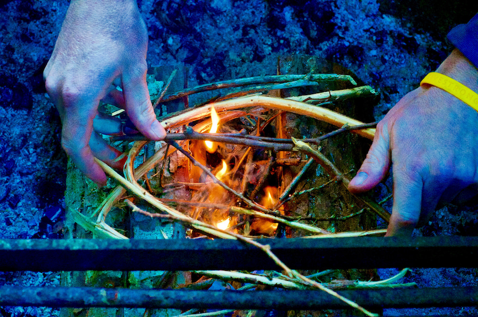 Bryan building a fire