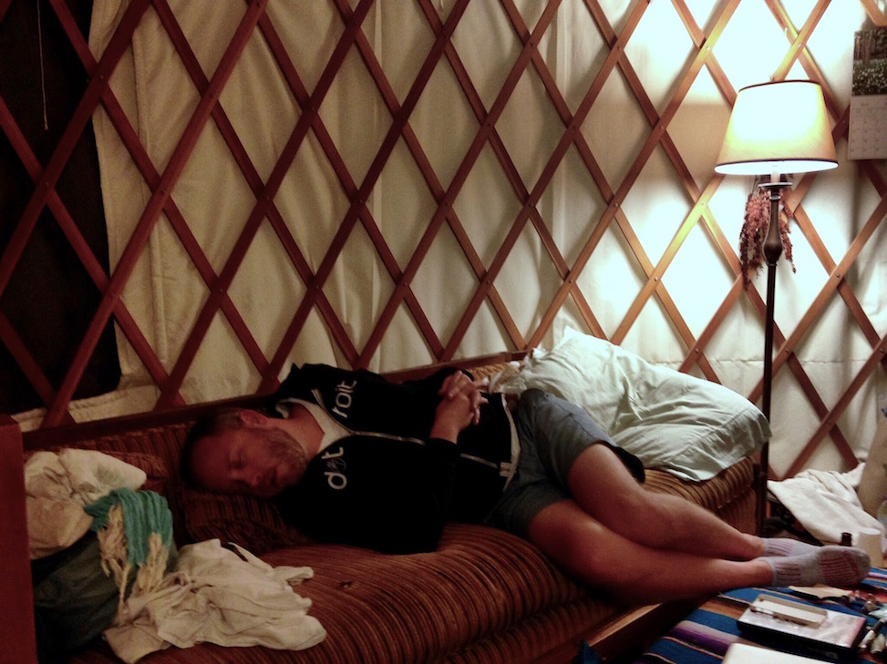 Bryan sleeping in the yurt, Fairfax, California