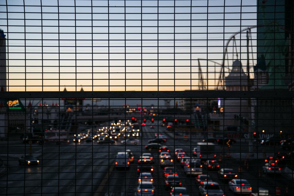 Vegas traffic at sunset