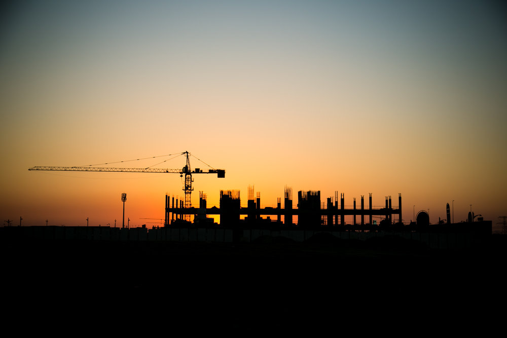 Construction at Dusk