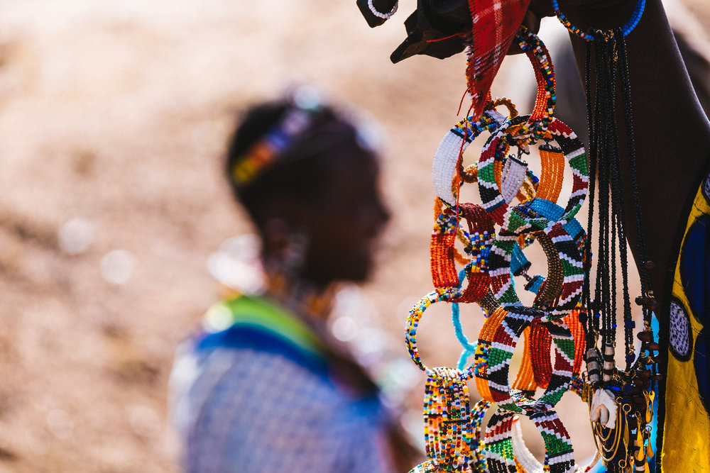 Colorful jewelry being sold at the entrance of the Maasai Mara park