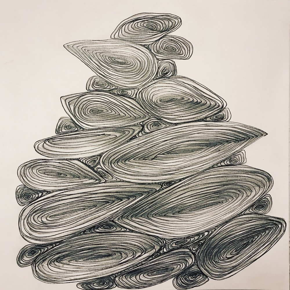 Pile, 2018, pen on paper, 25x25cm