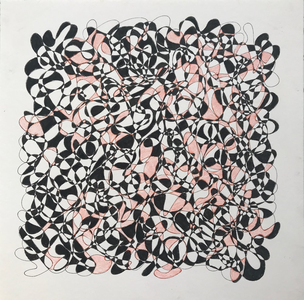 Black & Pink, 2018, pen on paper, 25x25cm