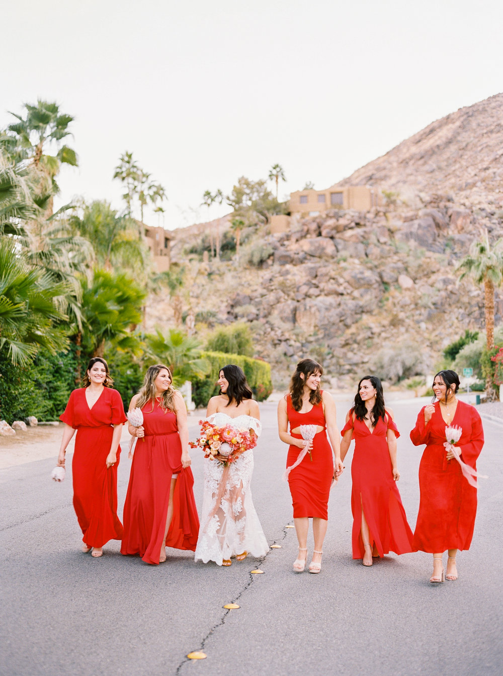 PALM SPRINGS WEDDING, BRIDESMAIDS RED DRESSES