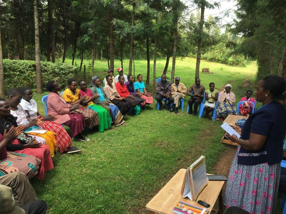 Chama meetings include health and social wellness education combined with financial skills and access to group savings and loans.