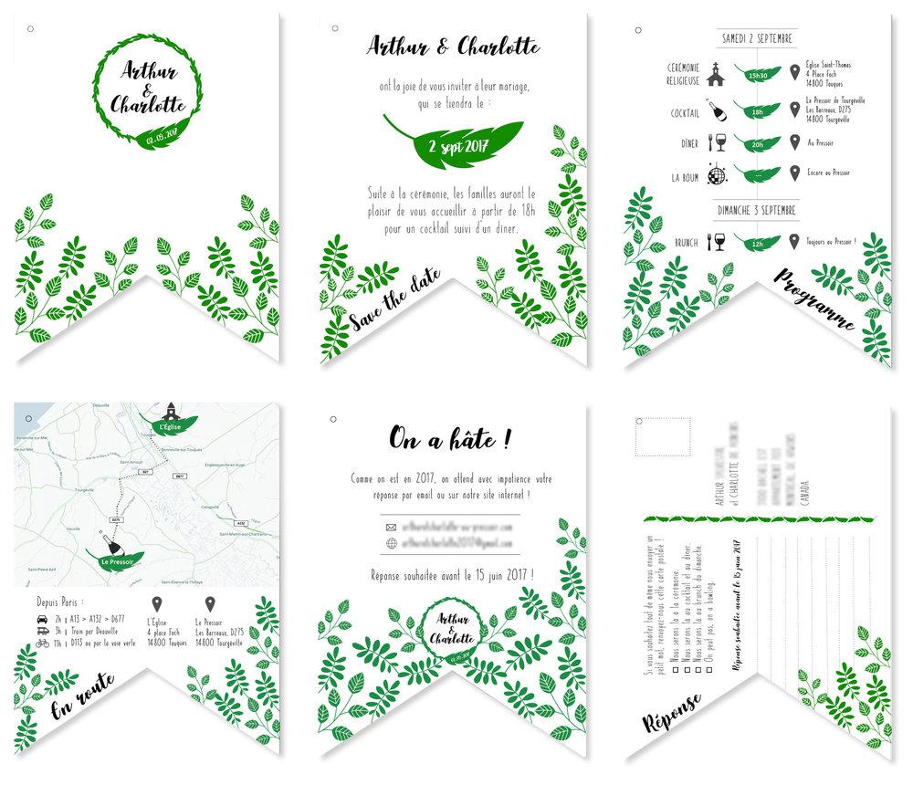 FAIRE-PARTS - / Création d'un logo/Design graphique - 6 pages - format fanion/ Impression et découpe de 110 exemplaires/ Pliage de 110 hibou en origami pour la couverture/ Assemblage et reliure (noeud) des 110 faire-parts