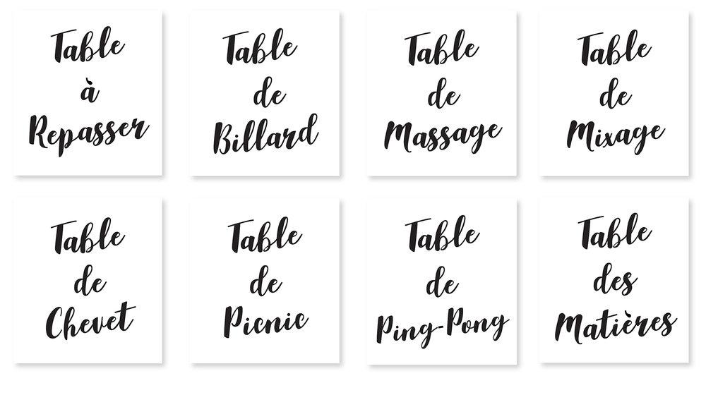 ÉTIQUETTES TABLES - / Réalisation visuelle d'étiquettes nominatives pour chaque table, suivant les noms choisis par les mariés/ Impression (jet d'encre sur papier photo premium mat 192 gsm) et découpe/ Découpe de tiges en bois, peintes couleur cuivre et marquées d'une entaille dans la longueur pour venir accueillir chaque feuille