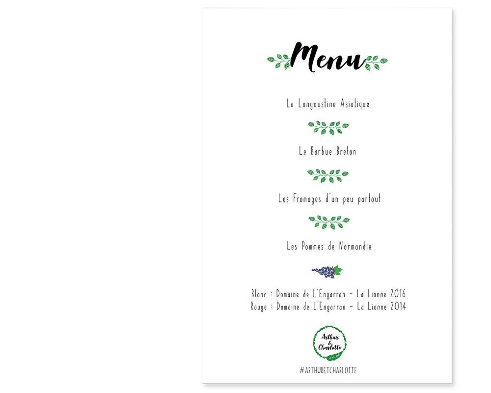 MENU - / Mise en forme et design du menu/ Impression et découpe de 20 exemplaires/ Montage de 20 clipboards avec pied pour présenter les menus debout sur la table