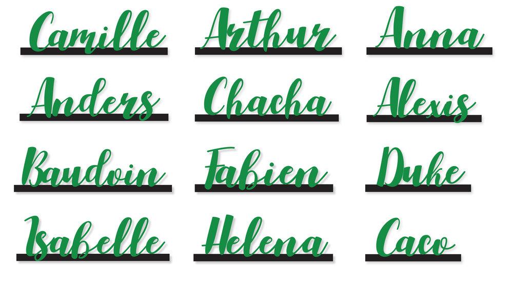 ÉTIQUETTES INVITÉS - / Réalisation graphique - avec reprise de la police calligraphiée, ajustée pour la découpe/ Découpe des 185 noms dans du papier cartonné vert/ Découpe de tiges de bois, peintes couleur cuivre et marquées d'une entaille pour venir y faire tenir chaque nom