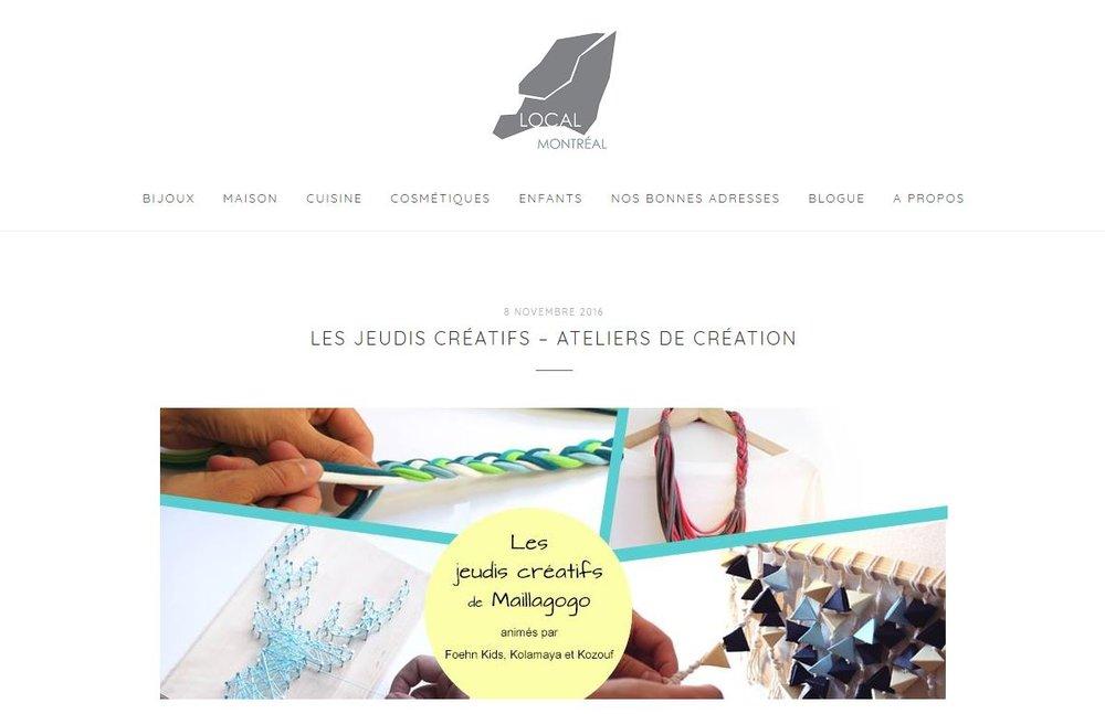 11-2016   Local Montréal   Les Jeudis Créatifs