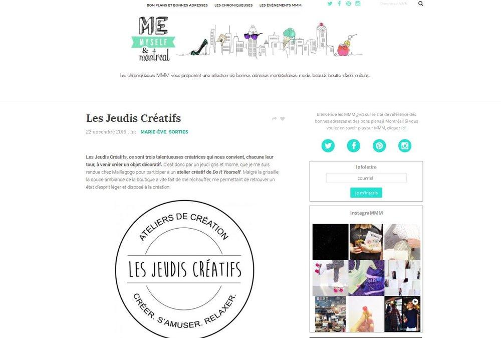 11-2016   Me, Myself & Montréal   Les Jeudis Créatifs