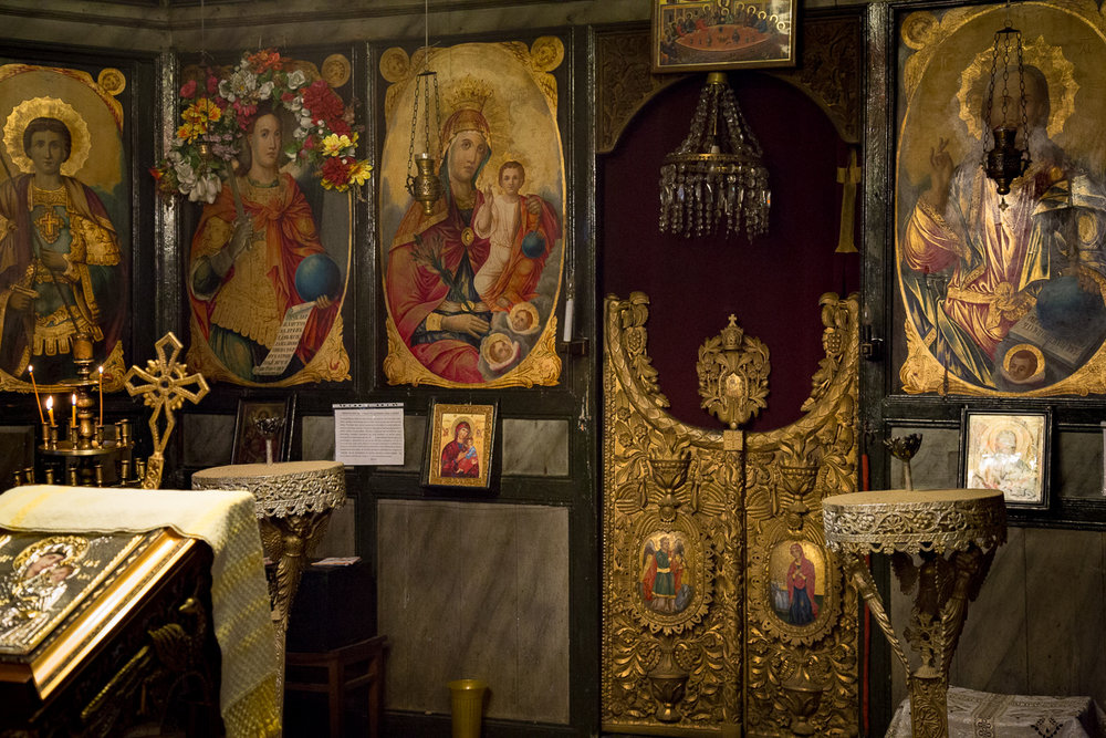 The gilded Bulgarian Orthodox altar inside the church at Dryanovo Monastery.