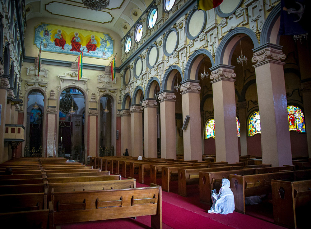 Inside an Ethiopian Orthodox church in Ethiopia's capital city of Addis Ababa. © Kim I. Mott, all rights reserved.
