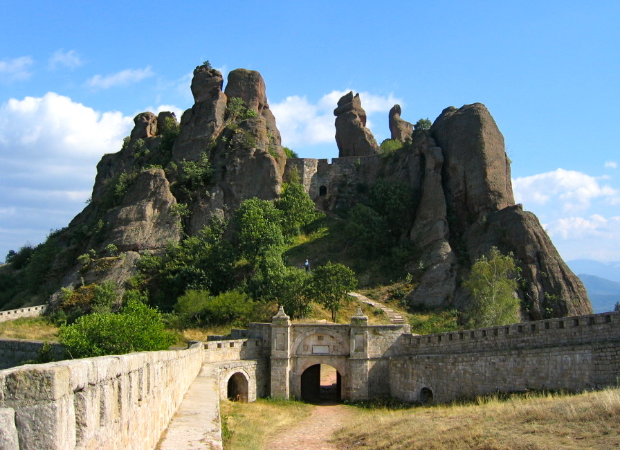 Belogradchik fortress on a slope of the Balkan Mountains in Bulgaria.