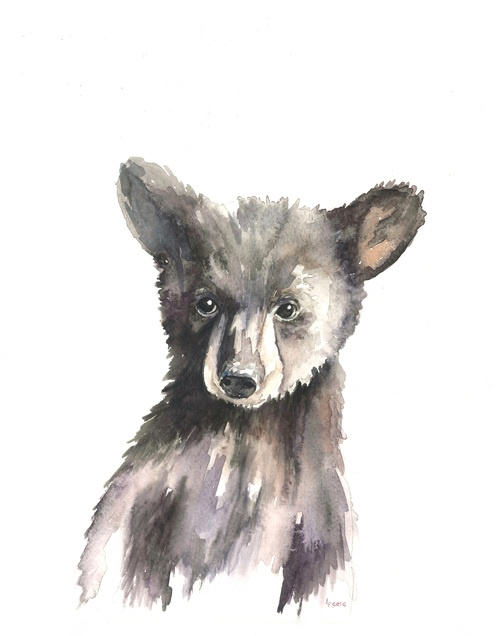 baby black bear watercolor | ampersandmother.com